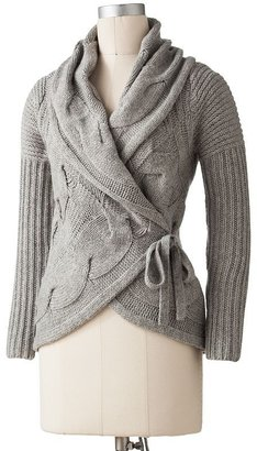 Apt. 9 cable-knit wool wrap sweater