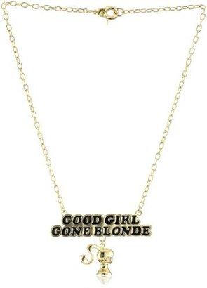 """Noir Barbie"""" Good Girl Gone Blonde Black and Gold Necklace"""