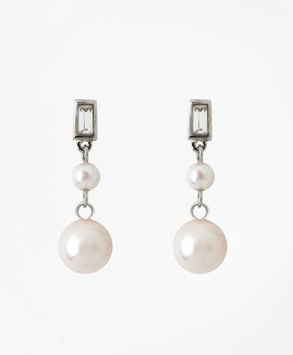Brooks Brothers Glass Pearl Drop Earrings
