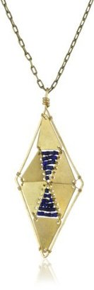 "Lapis Double Happiness Jewelry ""Corseted Gold-Tone Full Diamond Shape Necklace"