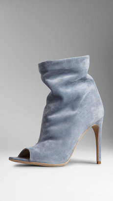 Burberry Peep-Toe Suede Ankle Boots