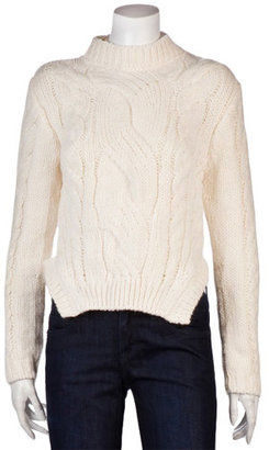 Carven Cableknit Sweater In Ivory