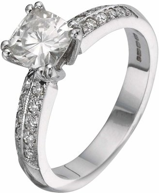 Moissanite 18 Carat 150pt White Gold Cushion Cut Engagement Ring