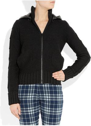 Joseph Leather-hooded wool bomber jacket