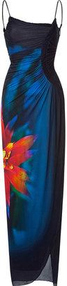 Roberto Cavalli Black Tropical-Print Maxi Dress
