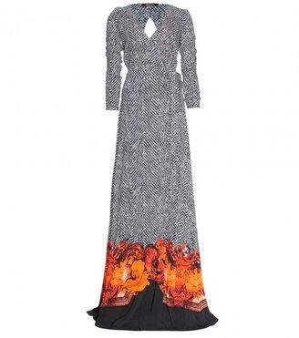 Roberto Cavalli PRINTED CREPE WRAP MAXI DRESS