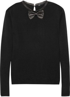 Maje Pamplune leather-trimmed wool sweater