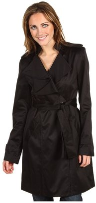 Vince Camuto Ruffle Collar Trench Coat