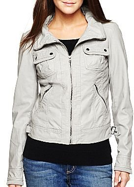 JCPenney Collection B Funnel Collar Faux Leather Jacket