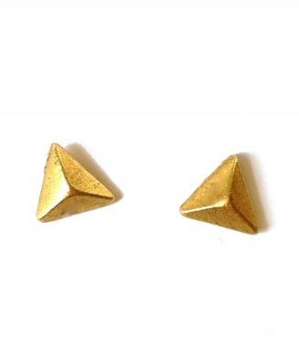 Carnet de Mode Tilly Doro Golden Brass Earrings with Pyramid