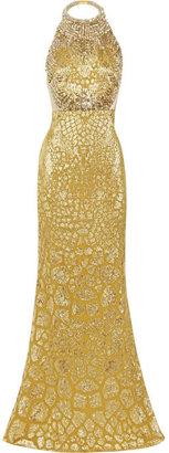 Alexander McQueen Crystal-embellished silk-blend gown