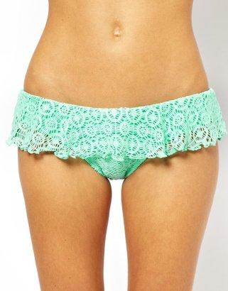 South Beach Lace Hipster Bikini Bottom - Green