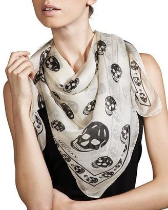 Alexander McQueen Skull-Print Chiffon Scarf $295 thestylecure.com