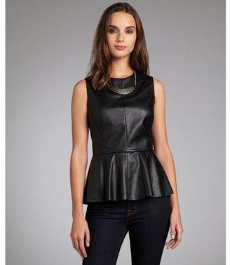Walter black faux leather 'Barry' sleeveless peplum top