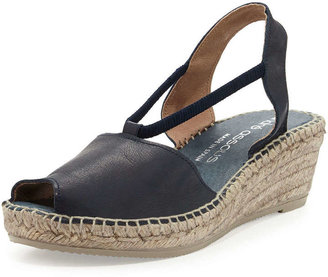 Andre Assous Dainty Leather Slip-On Espadrille Wedge, Navy