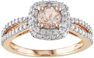 14k Rose Gold 1/2-ct. T.W. Round-Cut Diamond & Morganite Halo Wedding Ring