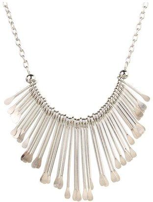GUESS Paddle Sticks Bib Necklace (Silver) - Jewelry