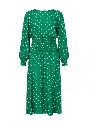 Kitri Marianella Green Polka Dot Smocked Dress