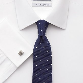 Charles Tyrwhitt Navy and white textured spot woven narrow tie