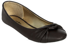 Wet Seal WetSeal Knotted Ballet Flat Black