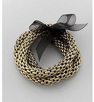 Relativity Goldtone Three Row Stretch Bracelet