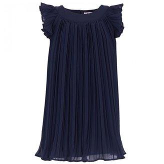Il Gufo Navy Pleated Dress