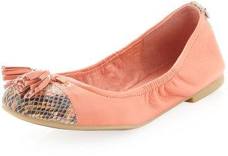 Elliott Lucca Stella Python-Cap-Toe Tassel Ballet Flat, Tangerine