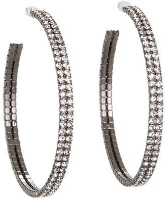 The Cool People Dee Berkley for Crystal Hoop Earring (Black Rhodium) - Jewelry