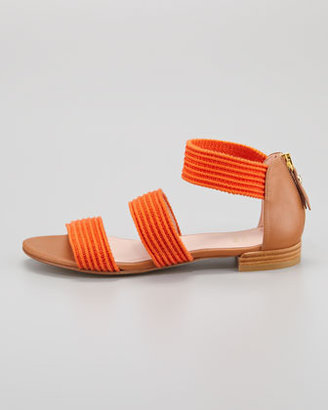 Stuart Weitzman Ligament Ottoman Elastic Flat Sandal, Orange