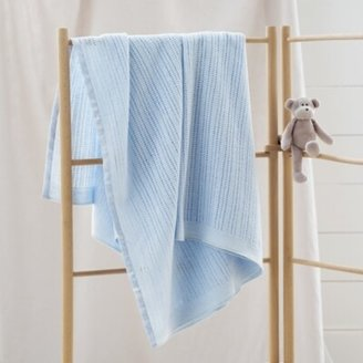 The White Company Satin-Edged Cellular Blanket, Blue, One Size