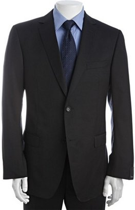 Z Zegna Zegna navy blue wool micro striped 2-button suit with flat front pants