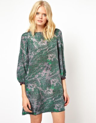 See by Chloe Marble Print Brushed Silk Shift Dress