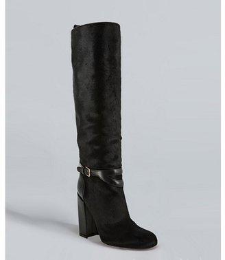 Yves Saint Laurent black pony hair 'New Chyc 105' tall boots