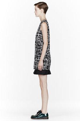 Marni Black Bonded Silk Cracked Caviar Tunic dress