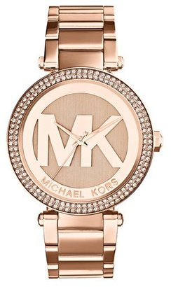 Women's Michael Kors Parker Logo Dial Bracelet Watch, 39Mm $250 thestylecure.com