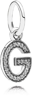 Pandora Pendant - Sterling Silver & Cubic Zirconia Letter G, Moments Collection