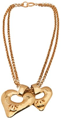 Chanel double heart logo necklace
