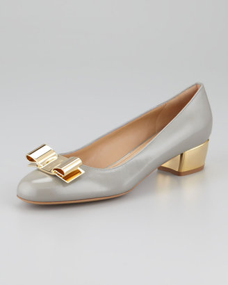 Salvatore Ferragamo Saphir Metal Detail Leather Pump, Shell Gray