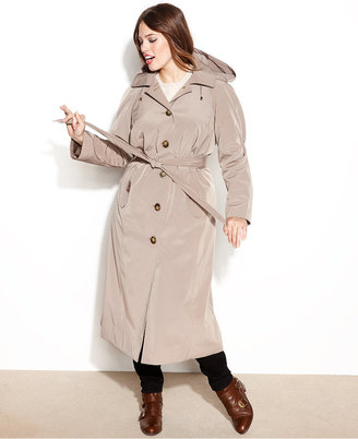 London Fog Plus Size Hooded Belted Maxi Trench Coat