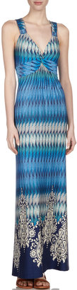Neiman Marcus Printed V-Neck Maxi Dress, Blue