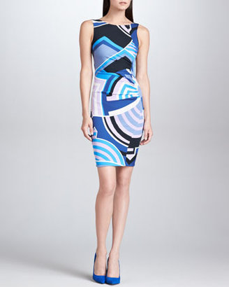 Emilio Pucci Sleeveless Side-Ruched Print Dress, Blue/Black/Ivory