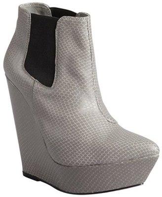 Madison Harding grey snake embossed leather 'Lyne' wedge booties