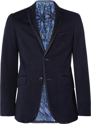 Etro Slim-Fit Grosgrain-Trimmed Jersey Blazer
