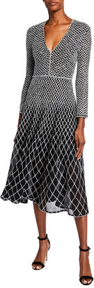 St. John Novelty Diamond Knit V-Neck 3/4-Sleeve Dress