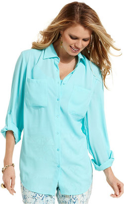 Style&Co. Petite Top, Roll-Tab-Sleeve Button-Down Shirt