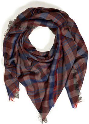 Jil Sander Cashmere-Wool-Cotton Plaid Scarf in Multicolor