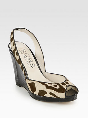 KORS Vivian Leopard-Print Calf Hair Wedge Sandals