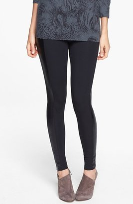 Frenchi Faux Leather Trim Leggings (Juniors)