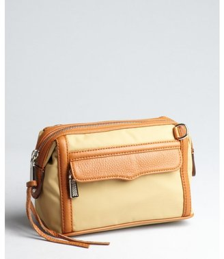 Rebecca Minkoff tan nylon and leather top zip 'Mab' makeup pouch
