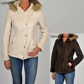 Esprit Junior's  Faux Suede Faux Fur-trimmed Hooded Jacket $104.99 thestylecure.com